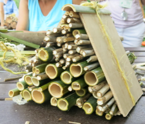 Stacks of reeds and bamboo stalks make a cosy bee shelter for wood nesting bees.